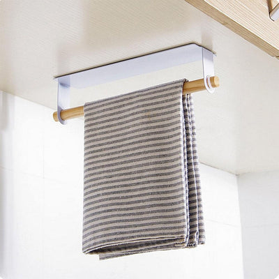 White the Lindsay Towel Rack & Paper Towel Holder with tea towel, from Estilo Living