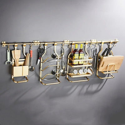 Golden Aluminium Wall Mounted Kitchen Storage Racks - Estilo Living