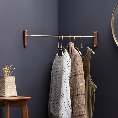 Acacia Wood + Brass Wardrobe Corner Rack | Wardrobe Storage | Bedroom Storage | Towel Rack | Small Space Storage | Estilo Living