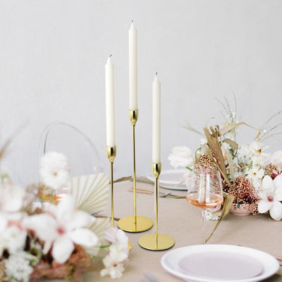 Gold Taper Candle Holder Trio Set | Home Decor | Metal Candle Holders | Taper Candle Holders | Estilo Living