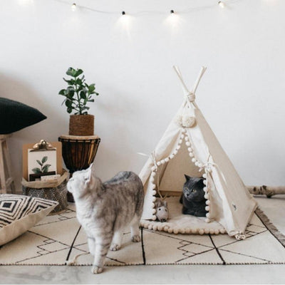Ivory Cream Boho Pompom Cat and Dog Tent