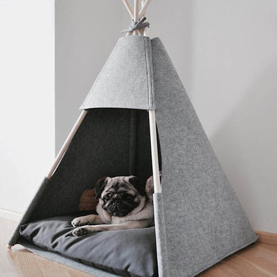 Easy Clean Gray Felt Dog Teepee with Plush Dog Bed