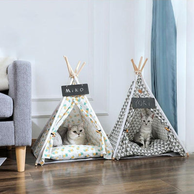 Portable Cat Teepee with Soft Cat Bed Collection | Cat Tents | Cat Teepees | Cat Beds | Cat Caves | Pet Tents | Pet Teepees | Estilo Living