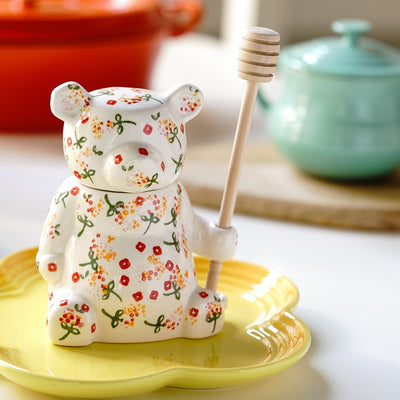 Ceramic Floral Bear and Beehive Honey Pots | Honey Jars | Honey Pots | Ceramic Honey Pots | Floral Bear Honey Pot | Estilo Living