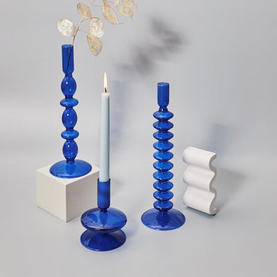 Blue Horizon Taper Glass Candlestick Holders | Home Decor | Blue Glass Candle Holders | Estilo Living