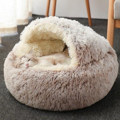Round Plush Calming Cat Cave | Cat Beds | Pet Beds | Pet Caves | Plush Cat Beds | Estilo Living