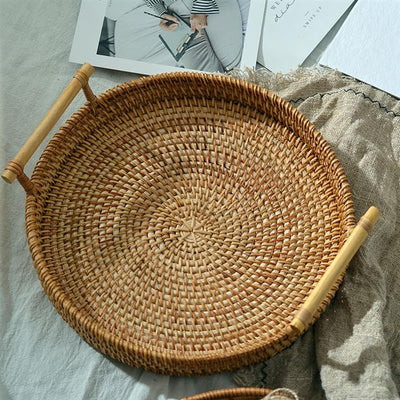 Handwoven Round Rattan Storage Trays | Decorative Trays | Display Trays | Estilo Living