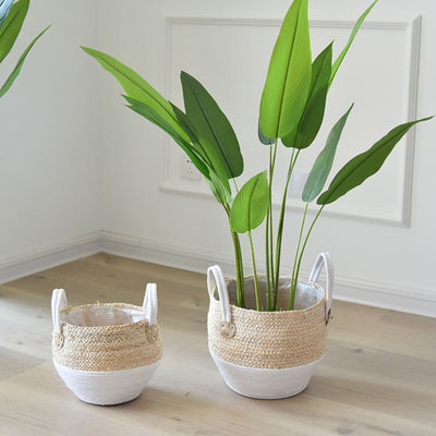 Sicilian Woven Storage Basket | Wicker Baskets | Stylish Storage Baskets | Woven Planter Pots | Indoor Planters | Estilo Living