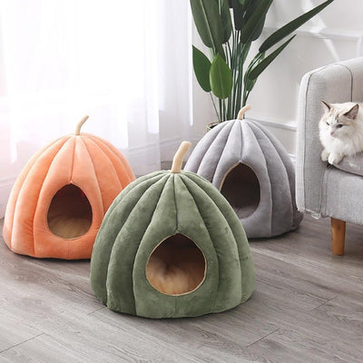 Pumpkin Cat Cave with Removable Cat Bed Cushion | Cat Beds | Pet Beds | Pet Caves | Plush Cat Beds | Estilo Living