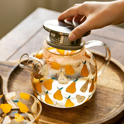 Pear Fields Borosilicate Glass Teapot Set | Teaware | Glass Teapots with Stainless Steel Infusers | Pear Teapot | Pear Glassware | Glass Kettle | Stovetop Kettle | Estilo Living