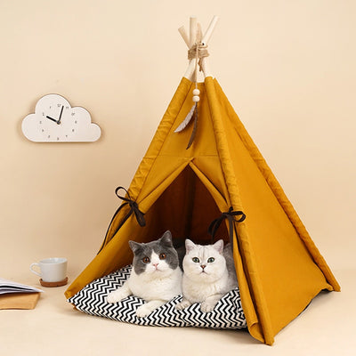 Marigold Pet Teepee for Dogs and Cats with Cushion | Dog Teepee | Cat Teepee | Pet Teepee | Dog Tent | Cat Tent | Pet Tent | Dog Beds | Cat Beds | Estilo Living