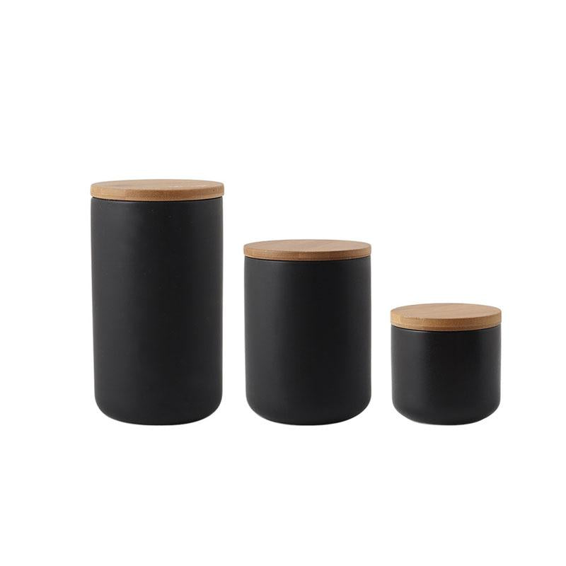 3 Piece Set Black & White Ceramic Food Storage Jars-Storage-Storage Jars With Lid Collection-Estilo Living