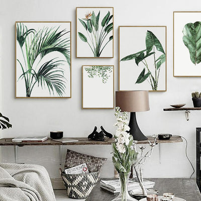 Scandinavian Green Leaves Watercolor Canvas Prints Collection-Wall Art on Canvas-Estilo Living