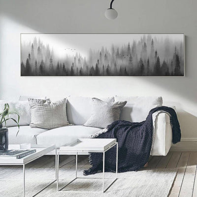 Create a sense of mood and mystery with this Scandinavian Woodland Forrest Landscape Canvas Print. Check out our Wall Art for Living Room Collection.