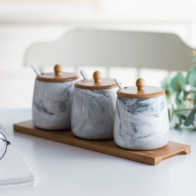 Seasoned Marble Storage Jars-Kitchen Utensils Set Collection-Estilo Living