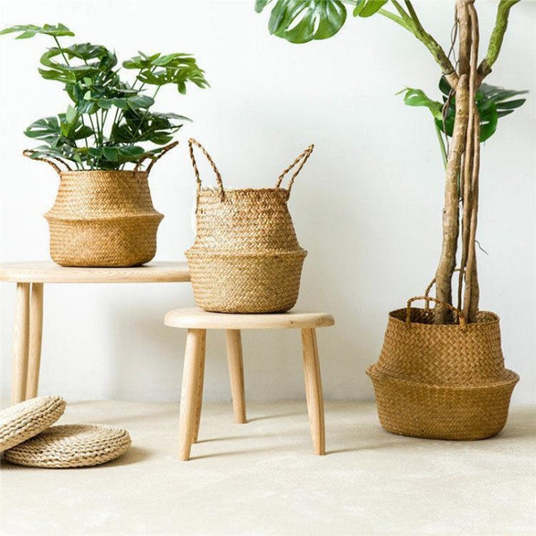 Straw Flower Planter & Storage Baskets-Home Decor Products-Estilo Living
