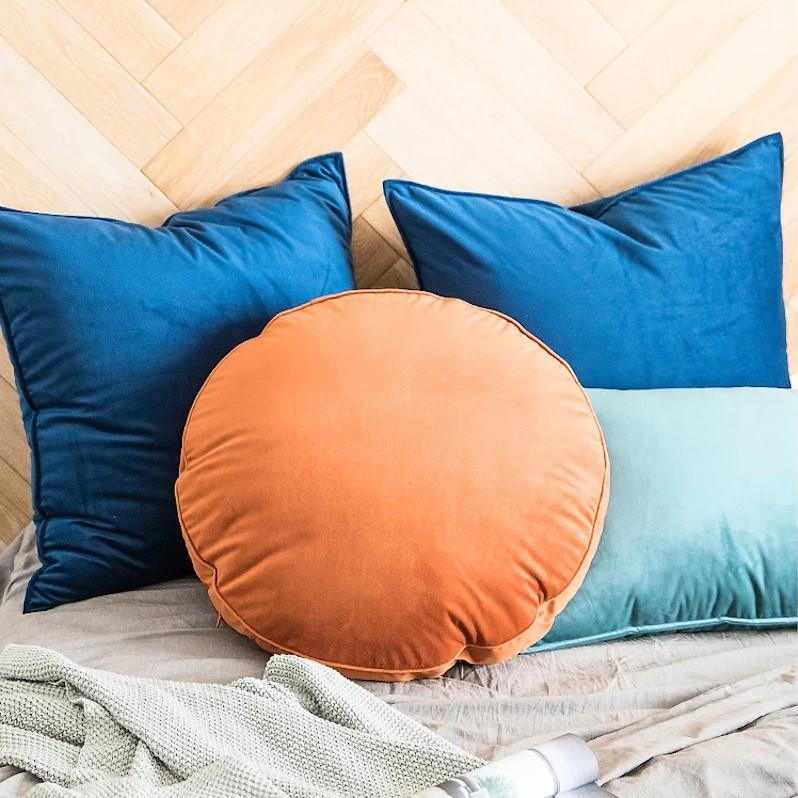Velvet Luxury Round Pillow Cushions Collection-Cushions-Estilo Living-Apricot-50cm (Diameter)-Estilo Living