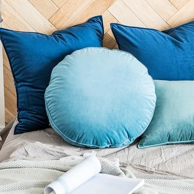 Velvet Luxury Round Pillow Cushions Collection-Cushions-Estilo Living-Blue-50cm (Diameter)-Estilo Living