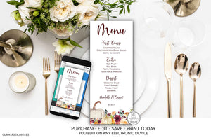 Editable Fall Menu Template, Thanksgiving Wedding Pumpkin Menu, Editable Menu, Printable Menu Template, Burgundy Menu, Friendsgiving Menu