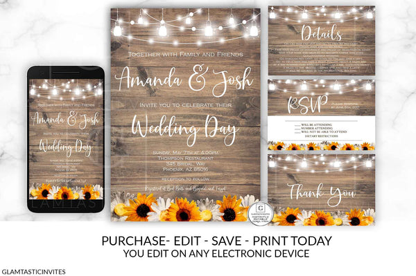 Sunflower White Daisy Wedding Invitation, Rustic Wedding Invitation Printable, Country Wedding Invitation, Digital file, Printable, wedding invitation suite, Instant Download, DIY