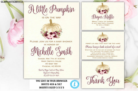 Gold Burgundy Pumpkin Baby Shower Invitation Package Set Template Fall Autumn Editable Printable Watercolor Vintage Rustic DIY Autumn Invite