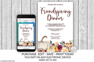 Friendsgiving Invitation, Thanksgiving Invitation, Dinner Party Invitation, Friendsgiving Printable, Online Invitation, Smartphone Invite