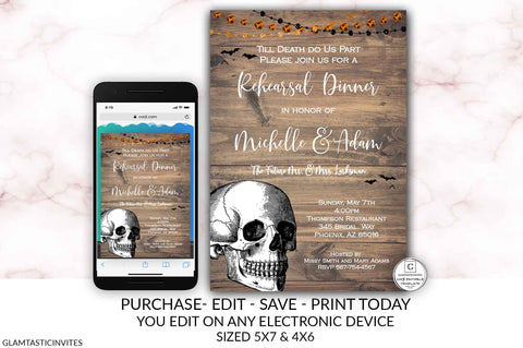 Halloween Skull Spooky Rustic Rehearsal Dinner Invitation Template Instant Download Editable Printable You Edit Bats Till Death Do Us Part