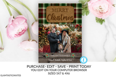 Rustic Christmas Family Photo Card Holiday Card Template DIY Plaid Vintage Family Holiday Card Merry Christmas Country Editable Printable