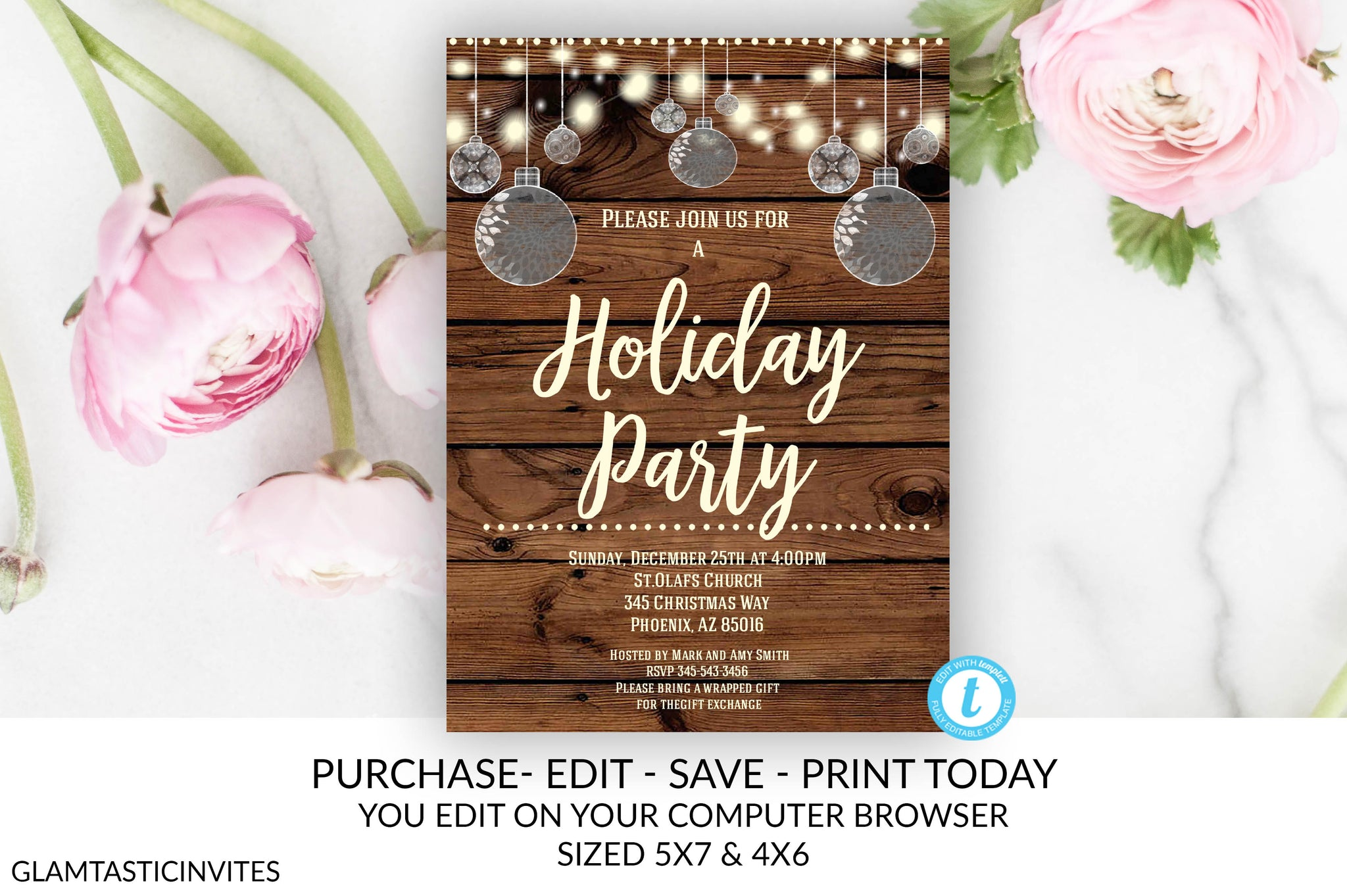 Rustic Christmas Holiday Party Invitation Template Editable