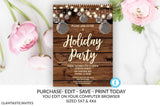 Rustic Christmas Holiday Party Invitation Template Editable Printable Country Winter Ornament Vintage, Christmas, Holiday Party, Invitation