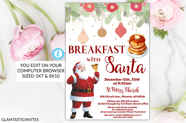 Breakfast with Santa Flyer Poster Invitation, Community Holiday Event Flyer, Breakfast with Santa, Editable, Kids Christmas Party, Printable