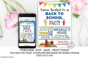 Back to School Party Invitation Template Editable Printable Instant Download Boy Girl End of Summer Bash Pool Party YOU EDIT Pencil DIY Card