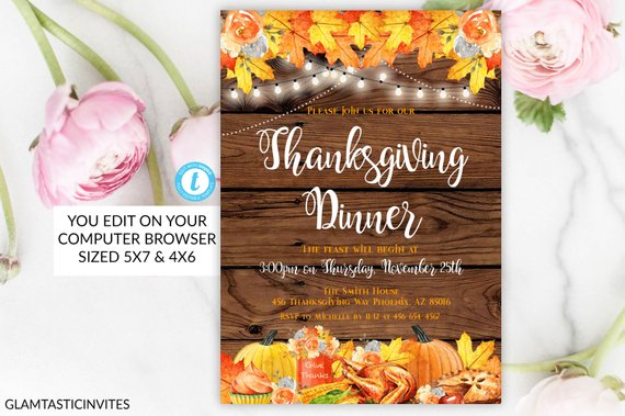 Thanksgiving Dinner Invitation Template Friendsgiving Fall Leaves Fall Festival Invitations Pumpkin Pie Editable Printable DIY Party Turkey
