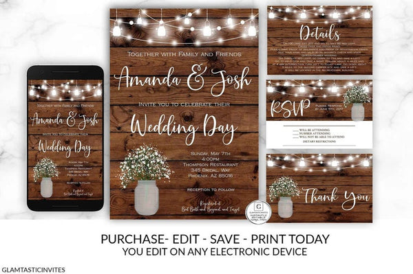 Printable Rustic Wedding Invitation, Country Wedding Invitation, DIY Instant Download, Wedding Invitation Suite, Wedding Invitation Template