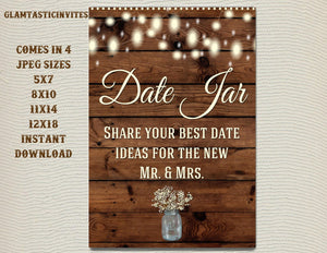 Printable Shower Sign, Date Jar Sign, Rustic Shower Sign, Printable Sign, Shower Sign, Rustic Wedding, Wood Sign, Digital Sign, Rustic