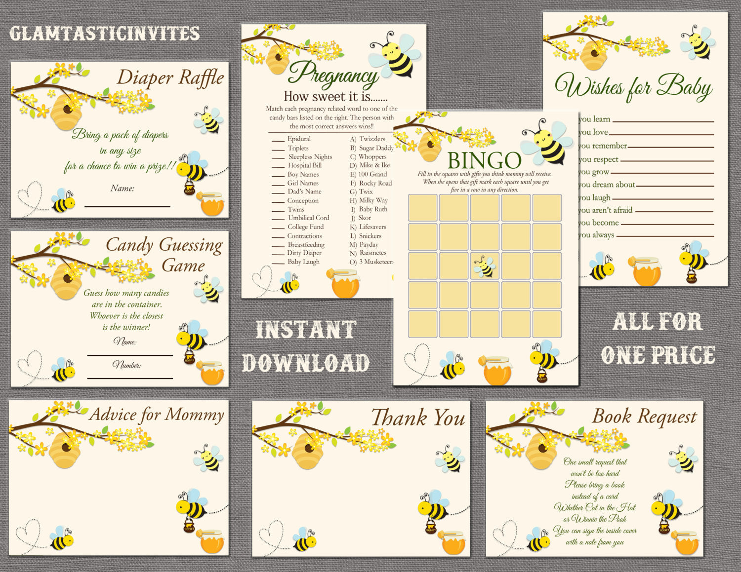 Bee Baby Shower Game Package, Honey Baby Shower Game Package, Baby Shower Game Package, Gender Neutral, Baby Girl Shower, Baby Boy Shower