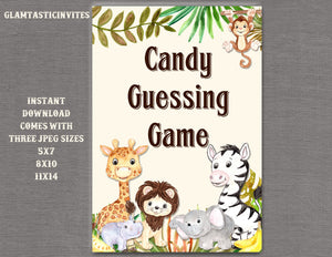 Jungle Candy Guessing Sign, Jungle Baby Shower Sign, Safari Baby Shower Sign, Shower Decor, Candy Guessing Sign, Digital Sign, Jungle,Safari