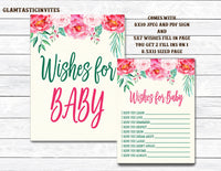 Floral Rustic Wishes for Baby, Floral Wishes for Baby Sign, Wishes for Baby Game, Wishes for Baby, Baby Shower Activity, Floral Baby Shower