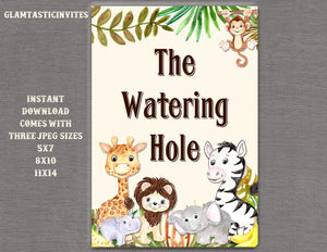 Jungle Watering Hole Sign, Jungle Baby Shower Sign, Safari Baby Shower Sign, Shower Decor, Watering Hole Sign, Digital Sign, Jungle, Safari