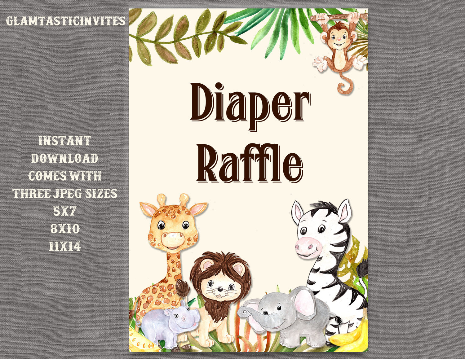 Jungle Diaper Raffle Sign, Jungle Baby Shower Sign, Safari Baby Shower Sign, Shower Decor, Diaper Raffle Sign, Digital Sign, Jungle, Safari