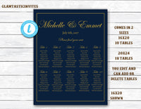 Wedding Seating Chart Template, Navy Wedding Seating Chart, Navy and Gold Seating Chart Template, Seating Board, YOU EDIT, Seating Template