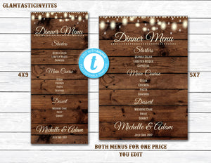 Rustic Menu, Rustic Wedding Menu, Rustic Rehearsal Dinner Menu, Menu Template, Rehearsal Dinner Menu, Wedding Dinner Menu, Template