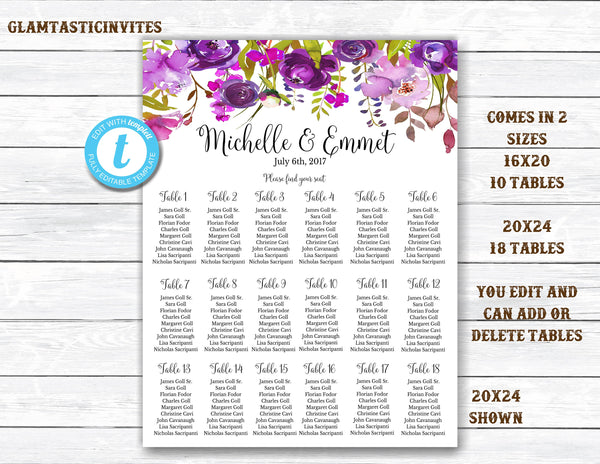 Wedding Seating Chart Template, Floral Wedding Seating Chart, Seating Chart Template, Seating Board, YOU EDIT, Seating Template, Floral