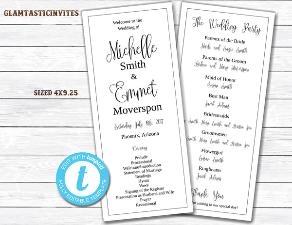 Wedding Program Template, Tea Length Wedding Program, DIY Wedding Program, Silver Wedding, Wedding Program, Template, Ceremony Program, DIY
