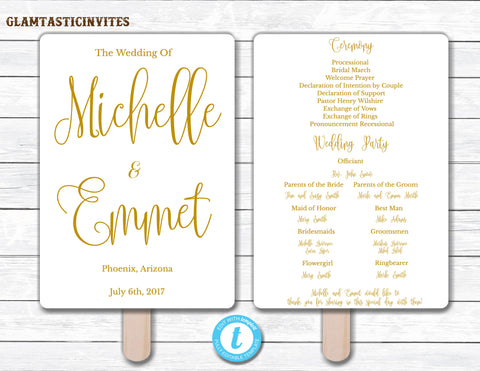 Wedding Fan Program Template, Gold Wedding Program Template, Ceremony Wedding Program, Wedding Fan, Wedding Template, YOU EDIT, Elegant, DIY