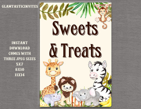 Jungle Sweets and Treats Sign, Jungle Baby Shower Sign, Safari Baby Shower Sign, Shower Decor, Favors Sign, Digital Sign, Jungle, Safari