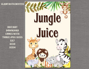Safari Jungle Juice Sign, Jungle Baby Shower Sign, Safari Baby Shower Sign, Shower Decor, Jungle Juice Sign, Digital Sign, Jungle, Safari