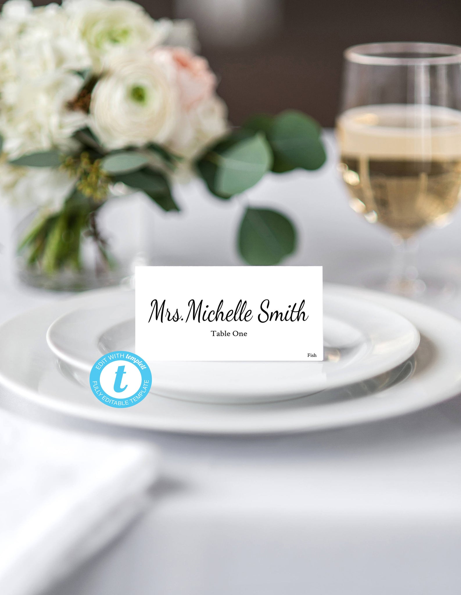 Place Card Template, Food Tent Template, Wedding Place Cards ...