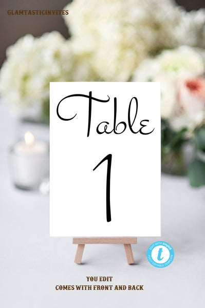 Table Number Template, Wedding Table Seating Template, Bridal & Head Table Number Cards, Wedding Printable, Printable Template, Wedding, DIY