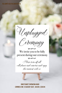Unplugged Ceremony Sign, Wedding Sign, Unplugged Wedding Sign, Rustic Wedding Sign, Printable Sign, Wedding Sign, Printable Unplugged Sign